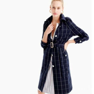 J Crew Collection Navy Blue Windowpane trench S 4